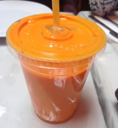 Shalimar - Sunnyvale, CA. Mango Lassi - just yogurt and mango pulp.