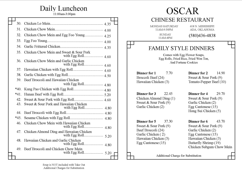 Oscar Chinese Restaurant, Ada OK