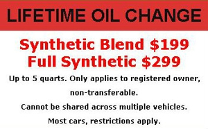 Lifetime Oil Change Offer