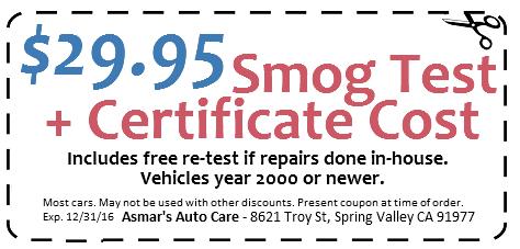 $29.95 smog test coupon