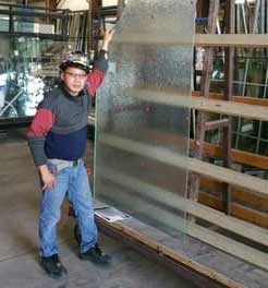 glass panel installation