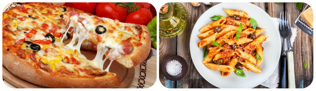 italian pizza and pasta
