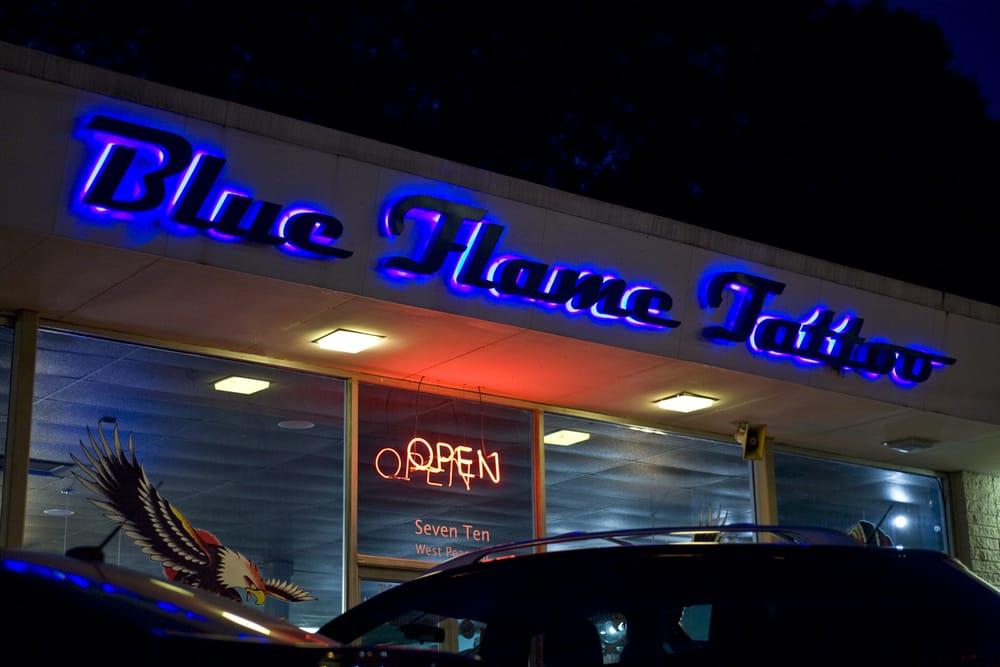 blue flames tatoo
