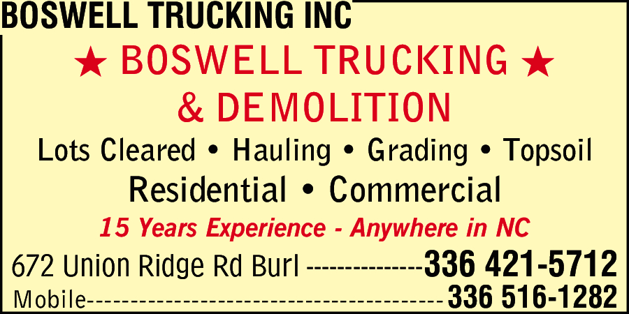 Boswell Trucking Inc