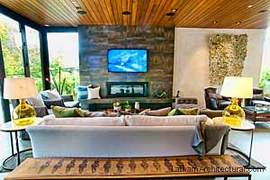 Vision House living room, gas fireplace