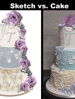 A free cake sketch vs the real wedding cake