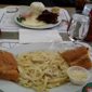 Lucky Chances Casino - Colma, CA. Creamy Chicken Alfredo Pasta, With Tosted Garlic/Buttered French Bread. Plate#2 Garlic Rice, Over Medium Eggs, & Beef.