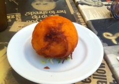 The Atlantic Chipshop - Brooklyn, NY. Deep fried mac and cheese
