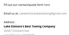Lake Elsinore's Best Towing Company - Lake Elsinore, CA