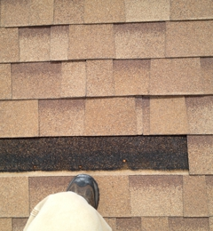 Tech Roofing & Construction - El Paso, TX. Before picture of missing shingles.