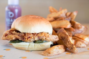 Spicy fried chicken sandwich at Fuku
