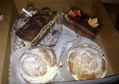 Croissan Time French Bakery - Fort Lauderdale, FL. Raspberry napoleon, cream puff, chocolate mousse with raspberry layer.