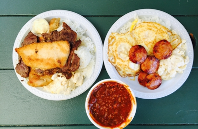 Rainbow Drive-In - Honolulu, HI. Mix plate (BBQ beef, chicken, and mahi mahi), 2 eggs plate with Portuguese sausage, and a bowl of chili.