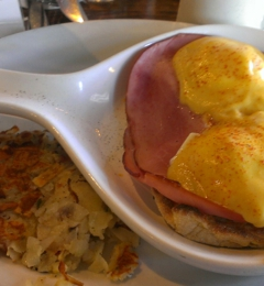 Stacks - Burlingame, CA. Eggs Benedict with a side of Stacks potatoes