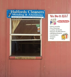 Halford's Cleaners - Modesto, CA. Halfords drive thru service