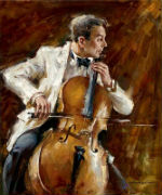Painting of Man Playing Cello