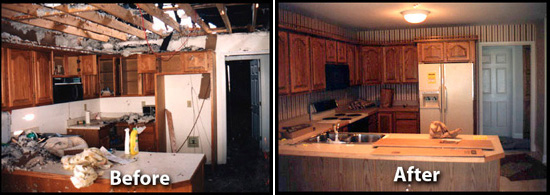 before and after water damage repairs done by Willamette Restoration