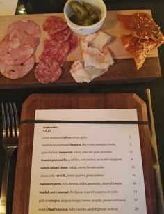 Menu and charcuterie at Fifty First Kitchen and Bar