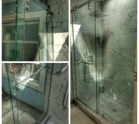 Tony's Windows & Glass - San Francisco, CA. Frameless sliding glass shower door