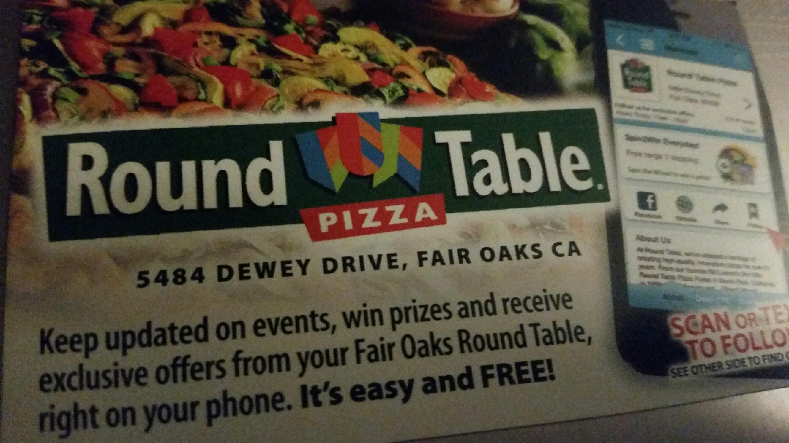 Round Table Pizza 5484 Dewey Dr Fair Oaks Ca 95628 Yp Com