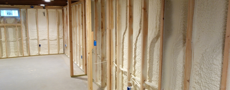 Completed basement insulation