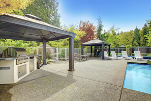 concrete decking, swimming pool features