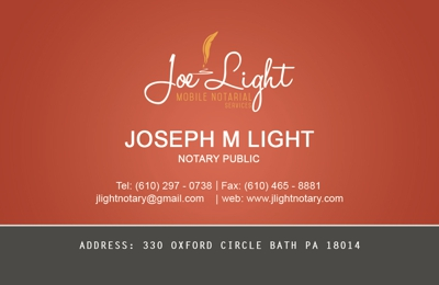 Joe Light Mobile Notarial Services - Bath, PA