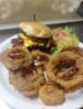 Hand breaded to order onion rings and Build your own Burger .