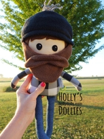 Holly's Dollies Working Man Beardo - This could be a longshoreman or a lumberjack or a farmer or a carpenter--or maybe it looks like Daddy.