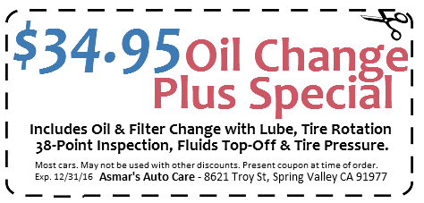 $34.95 oil change special coupon