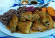 Cha Cha Chicken - Santa Monica, CA. Cha cha chicken with rice & beans and baked sweet potatoes.