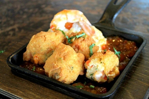 Shrimp and grits hushpuppies at Puckett's Boat House