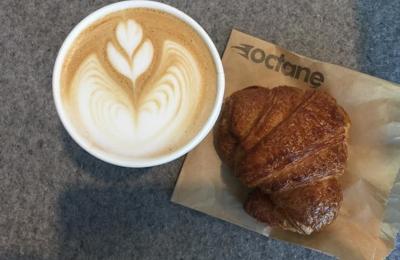 Octane Coffee - Atlanta, GA. Cappuccino and homemade croissant