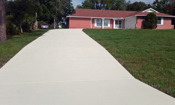 Ace Advanced Coating Experts - Weeki Wachee, FL. Concrete Stain Sealer coat: Buff