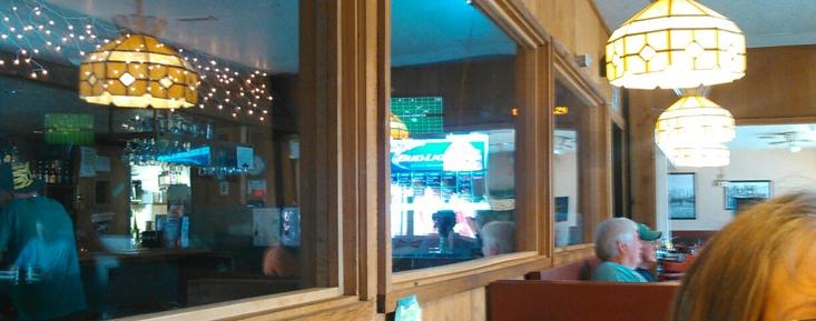 Nice dinning room separated from the bar by a wall of Windows! really cool!