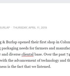 Central Ohio Bag & Burlap Inc - Columbus, OH. Since 1933