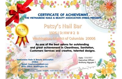Patsy's Nail Bar - Washington, DC. Congratulations !