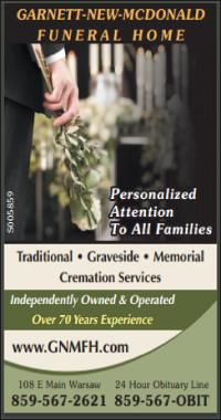 Garnett New Mcdonald Funeral Home Po Box 884 Warsaw Ky 41095 Yp Com