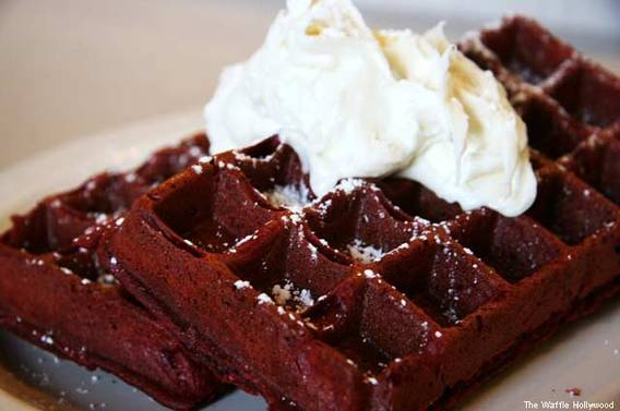 Red Velvet Waffles at The Waffle Hollywood
